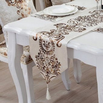 Classic Modern Cotton Linen Table Table Runner color:#2size:33*180cm - intl ...