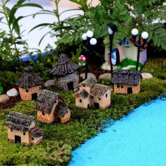Cute Mini Micro Thatched House Miniature Fairy Garden CraftLandscape Decor Multi - intl - 3