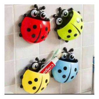 DapurBunda Ladybug Toothbrush Holder Wall Mount Suction Sucker HookHome Bathroom - Multicolour - 2 .