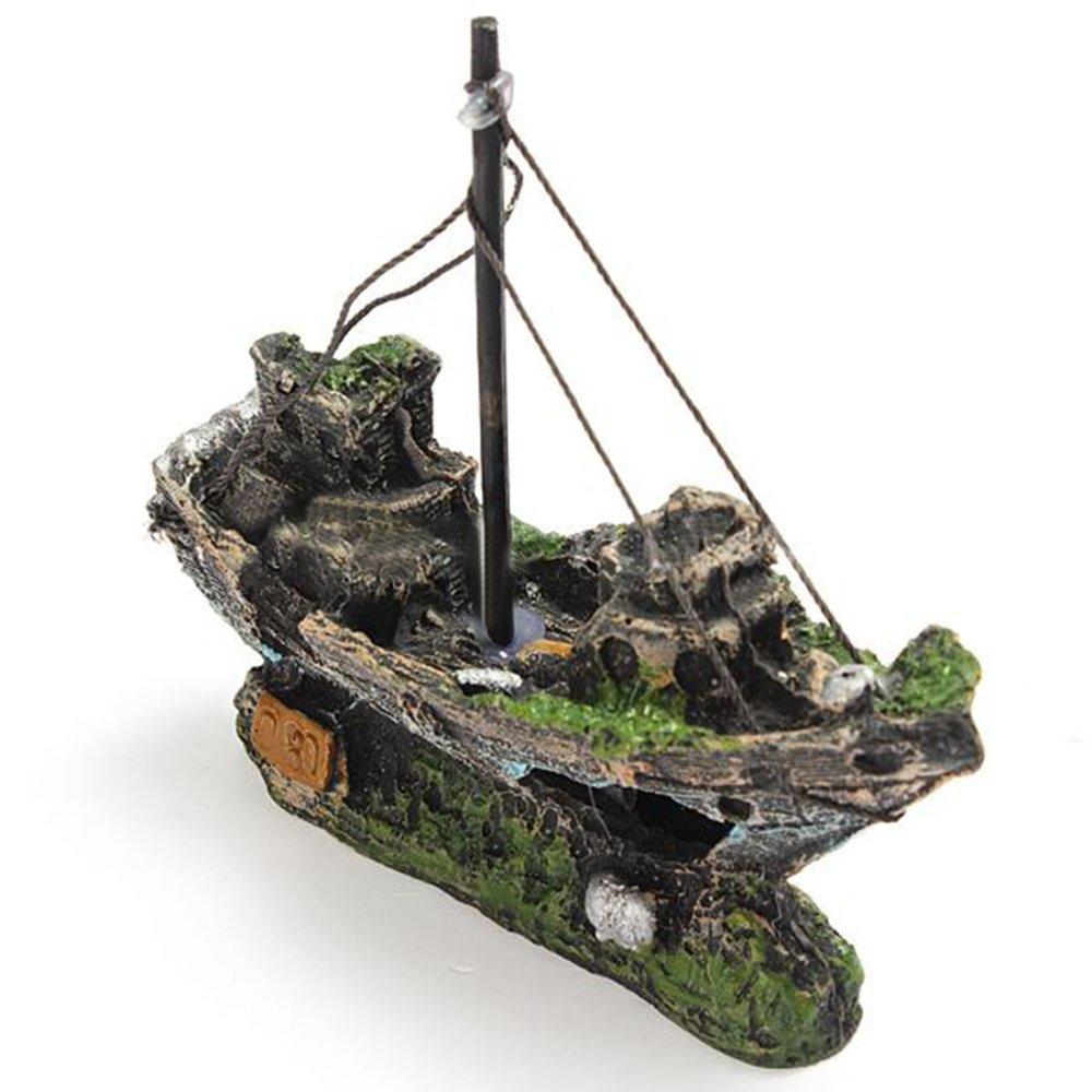 Desain Unik Simulasi Akuarium Air Tangki Ikan Tanaman Getah MerusakPemandangan Perahu Ornamen
