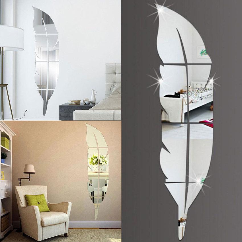 Diseduh Sendiri 3D Bulu Bulu Cermin Dinding Vinil Stiker Seni Dekorasi Rumah Lukisan Dinding