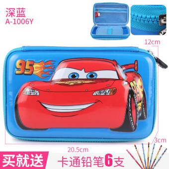 Disney perlengkapan sekolah dasar anak laki-laki multifungsi mobil alat tulis kotak pensil anak