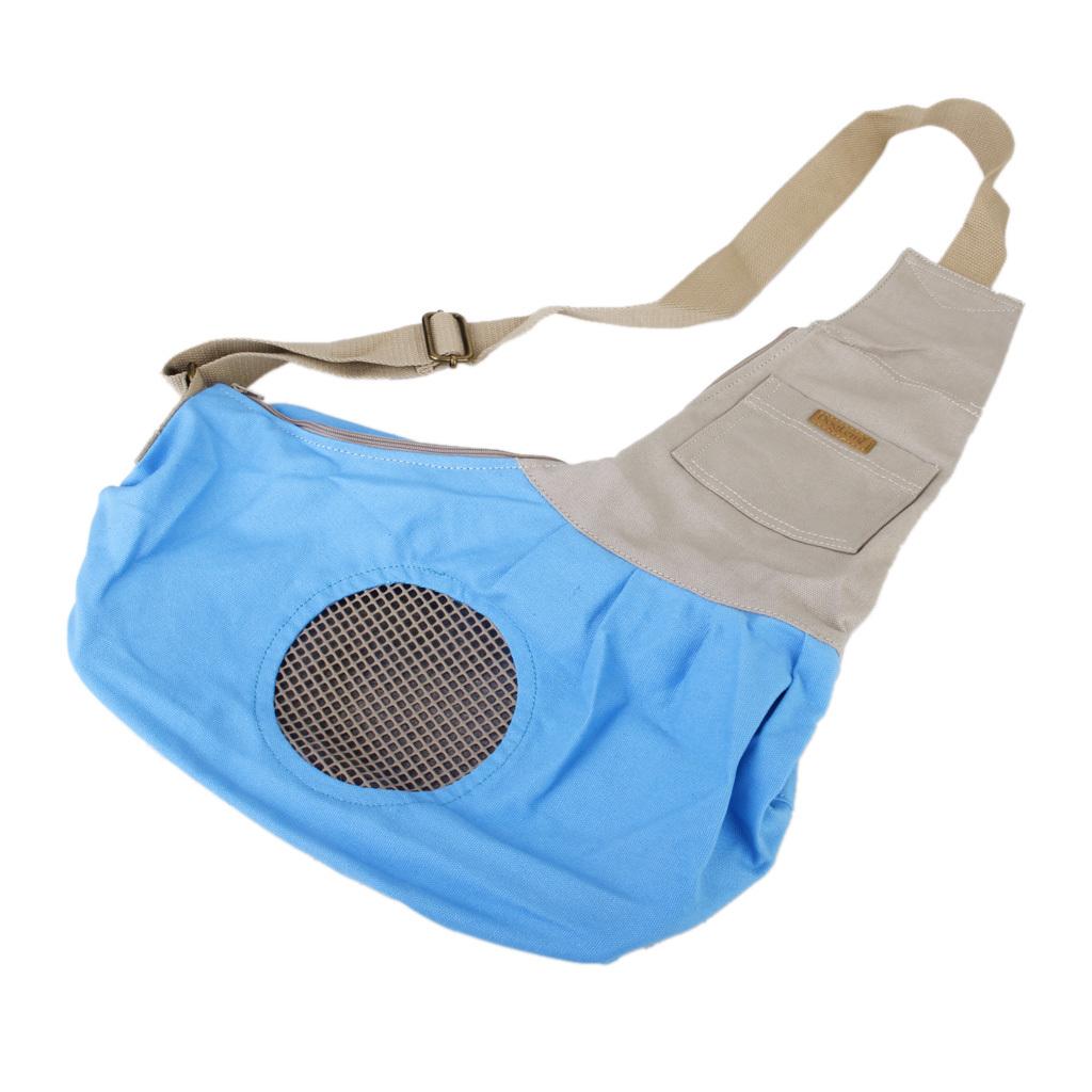 Dog Cat Pet Carrier Single Shoulder Sling Bag Tote Pouch forOutdoor Blue