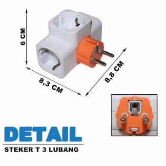 Detail Gambar EELIC STK-9924 Steker Stop Kontak T Arde 3 Lubang Colokan T-