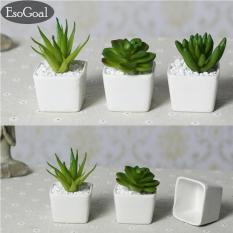EsoGoal Set Dari 4 Modern Keramik Putih Mini Pot Tanaman Buatan Buatan