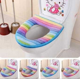 Fang kursi Toilet kamar mandi hangat kain lembut yang dapat dicuciClosestool tutup penutup atas bantalan Pink