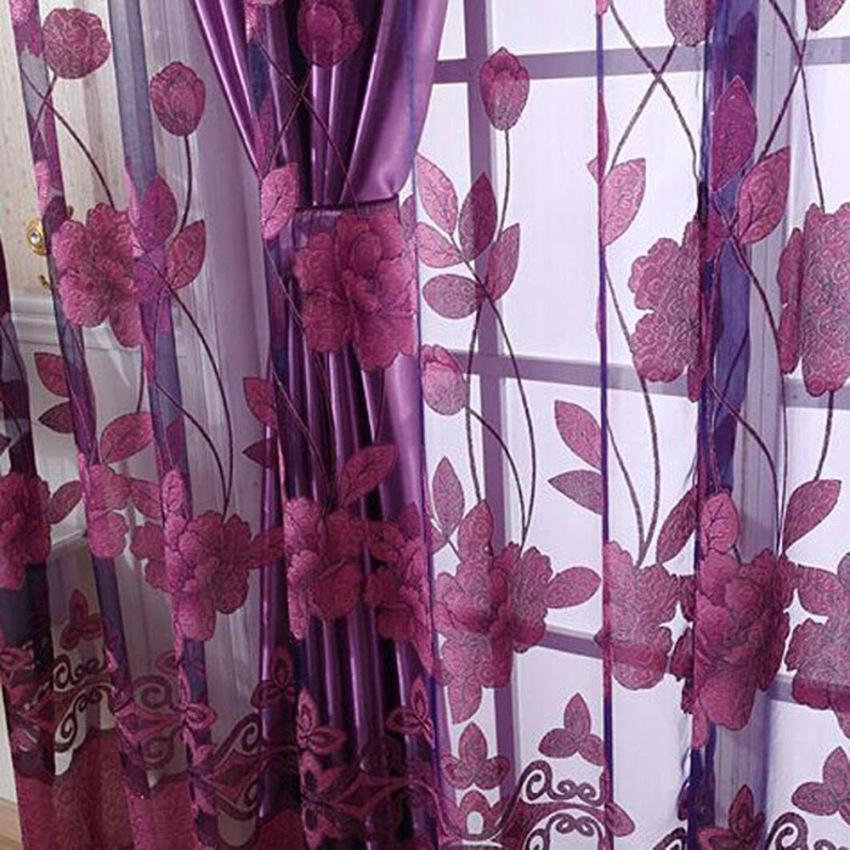 Fashion 250 cm x 100 cm cetak bunga kain pual tirai pintu jendela .