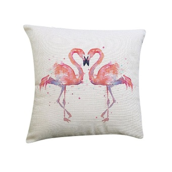 Flamingo Painting Linen Cushion Cover Throw Waist Pillow Case SofaHome Decor E - intl - 2