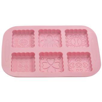 Griya Cetakan Sabun Moon Cake III 6 cav (Kotak Silikon) - Pink
