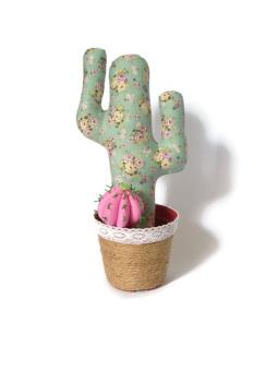 Happy Pelangi Craft Tanaman Kaktus Katun Hijau Motif Bunga