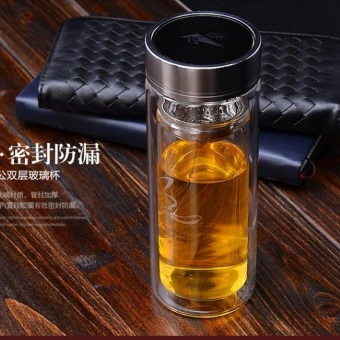 HL Fulkwong Licensing 703 Transparent Double-Layer Glass MugWithcover Cup Cup Screen Portable Cup -