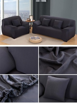 Home Living Living Rooms Sets High Quality Store New Fashion L-Shape Textile Spandex 2 Seaters Sofa Cover Furniture Protector Couch Slipcover Home Decoration Black - intl