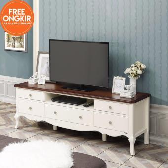 iFurnholic Baroque TV Cabinet 160 - Meja TV - Putih Tulang - TopCoklat Tua - Gratis