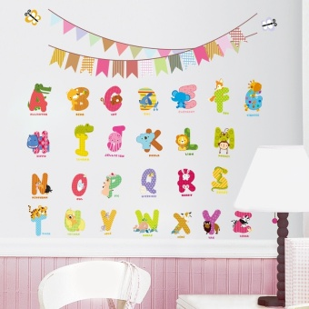 2016 Animal Characters Letters Wall Sticker Flag Nursery Kids Room Birthday Decoration English Wall Decals Alphabet Logo Gift