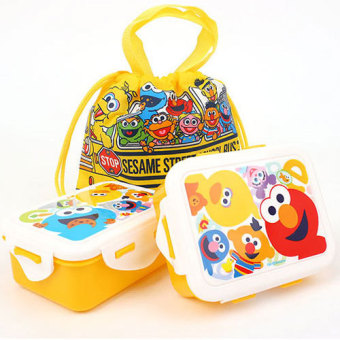 Harga Sesame Street Character 2 Tier School Bus Lunch Box with Pouch Set