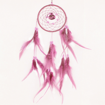 niceEshop Dream Catcher Dreamcatcher Feathers with a Small Bell Wall Hanging Decor,Pink