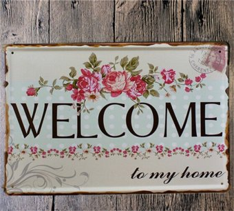 Harga Tin Metal Signs Poster WELCOME To My Home Wall Stickers Decor Iron Retro Plaques - intl