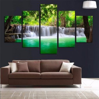 5Pcs Waterfall Landscape Abstract Canvas Painting Modern Home Decor Unframed - intl