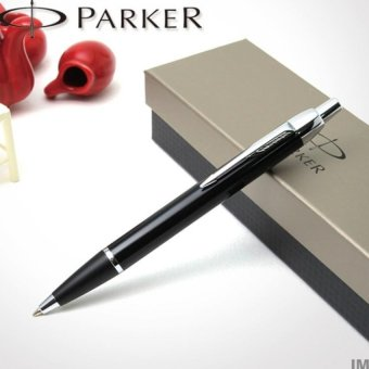 Parker IM hitam garis perak ditarik pulpen - International