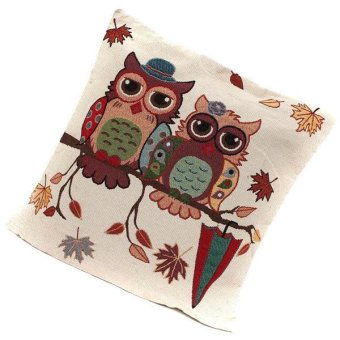 Harga Yingwei Owl Pattern Pillow Case Cover Multicolor