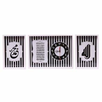 hiasan jam dinding set kaligrafi ayat kursi dan allah muhammmad monochrome ...