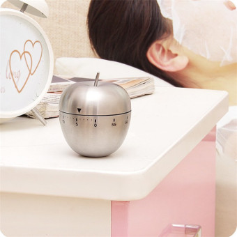Stainless Steel 60 Minutes Kitchen Timer Apple Shape Mechanical Rotating Alarm Intl 3 .