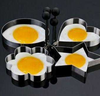 4 buah Stainless Steel Omelet Jamur Goreng telur pembentuk alat dapur untuk memasak ...