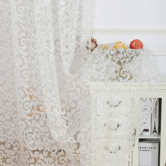 European style jacquard design home decoration modern curtain tulle fabrics organza sheer panel window white - 3