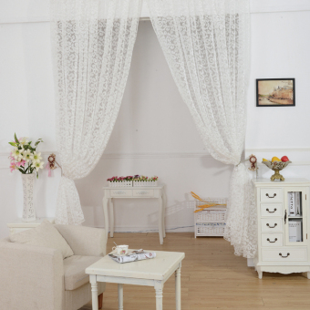 European style jacquard design home decoration modern curtain tulle fabrics organza sheer panel window white - 2