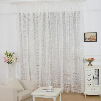 European style jacquard design home decoration modern curtain tulle fabrics organza sheer panel window white