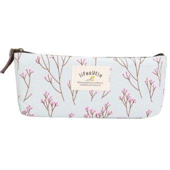 Harga Cocotina kanvas Pencil Case pena alat tulis bunga kain - Biru