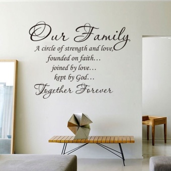 45*60cm Black Wall Decal Sticker Quote Vinyl Art Our Family Is A Circle of Strength and Love DIY Home Decor - 2