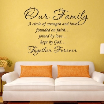 45*60cm Black Wall Decal Sticker Quote Vinyl Art Our Family Is A Circle of Strength and Love DIY Home Decor - 3
