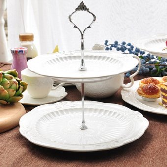 Harga Crown Cake Cupcake Plate Stand Handle Party Wedding Dessert Fruit 2Silver - intl