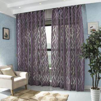 Modern curtain 3d bedroom fabric window decoration fabrics ready made curtain purple