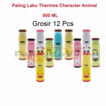 Harga Paling Laku Grosir Termos Animal 12 pcs - Botol Minum Termos Karakter Animal Stainless Steel 500 ml / Thermos