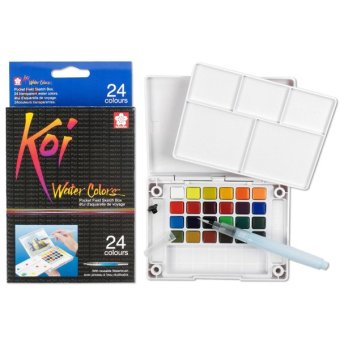 sakura koi watercolor pocket field sketch box 24 cat air portable