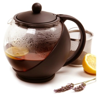 Teapot 1250 ml Coklat / Teko kaca ceret tempat teh saringan stainless tea pot Coffee