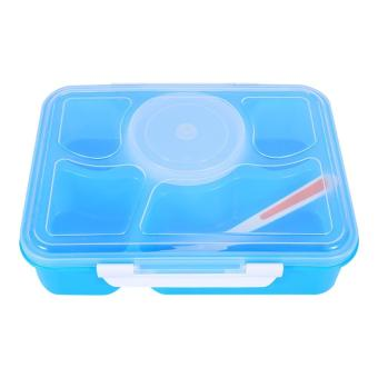 Harga Microwave Bento Lunch Box + Spoon Utensils Plastic Picnic Food Storage Container (Blue) - intl