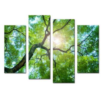 30 Cm X 80 Cm 4 Panel Tanpa Bingkai Hijau Pohon Kanvas Lukisan Dinding Seni Lukis