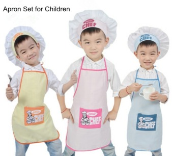 Harga Cute Kid's Chef Hats and Aprons Funny Kitchen / Cooking Apron Set for Baby Girl Boy Kindergarten Children(Blue) - Intl