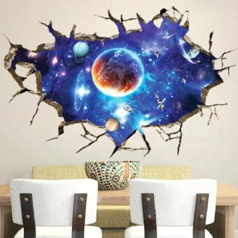 Wall Decal 3d Mural a Corner of Space Planet Removable PVC Wall Stickers-60 x 90cm - intl