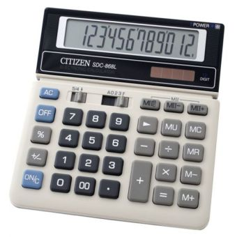 Harga Citizen SDC-868L Electronic Calculator - Kalkulator 12 Digits - Abu-abu