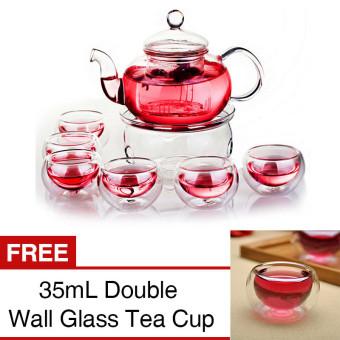 Borosilicate Glass Teapot Set 800mL Infuser Teapot+Warmer+6 Double Wall Tea Cups [Buy 1 Get 1 Free] - intl ...