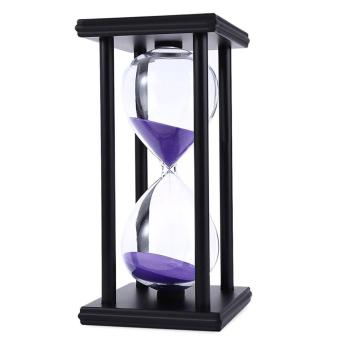 Harga Vanker-New 30 Minutes Time Counter Hourglass Sand Timer Retro Wooden Sandglass Clock Black Frame Purple Sand - intl