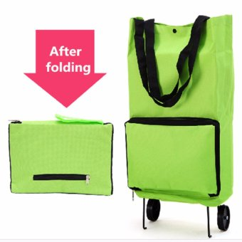 Harga Large Oxford Protable Folding Reusable Grocery Shopping Cart Bag With Wheels Trolley Bags Travel Storage Package Handbag Organizer,Green - intl
