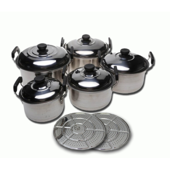 Harga 555 Panci Steamer Set 12Pcs Stainless Steel POT