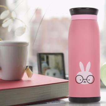 Harga Colourful Cute Cartoon Rabbit Thermos Insulated Mik Water Bottle 500ml Botol Air Stainless Steel Termos ZB01 - Pink
