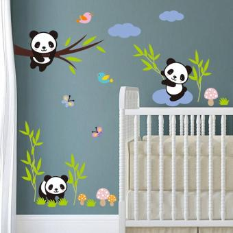 Harga funny panda bamboo kids room wall stickers living room decals diy home decor wallpaper for bedroom - intl