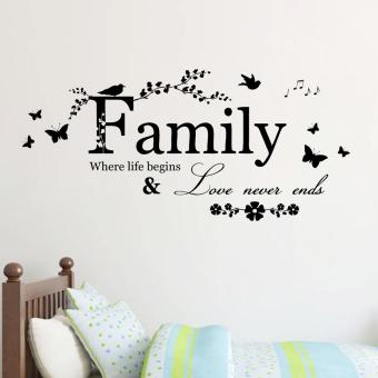 keluarga di mana kehidupan dimulai dan cinta tidak pernah berakhir inspirasional dekorasi wall stiker vinil rumah